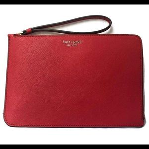 NWT Authentic Kate Spade Red Leather Wristlet